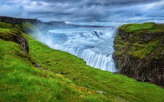 Бесплатные фото Gullfoss Waterfall,Iceland,море,океан,водопад,небо,облака