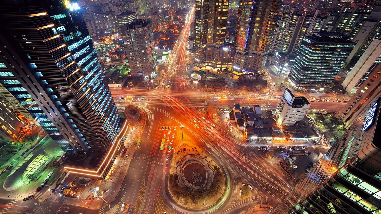 Обои город, Сеул, с птичьего полета картинки на телефон