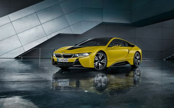 Фото бесплатно BMW i8, желтые, вид сбоку