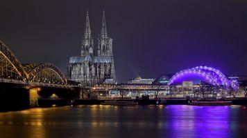 Бесплатные фото Кёльнский собор,Германия,Кёльн,мост,город,ночь,иллюминация