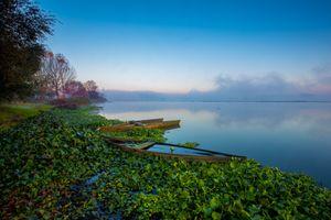 Бесплатные фото озеро,закат,туман,лодки,деревья,берег,пейзаж