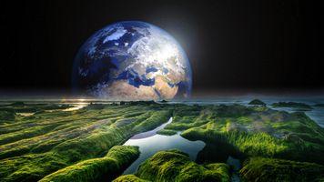 Бесплатные фото море,берег,скалы,планета,solaris,сумерки,фантазия