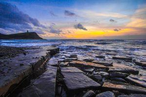 Заставки море, скалистый берег, волны