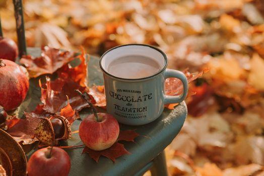 Горячий шоколад и яблоки · бесплатное фото
