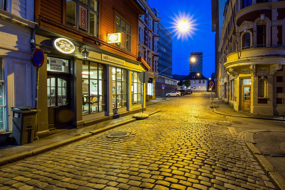 Фото бесплатно Берген, Норвегия, ночь - на рабочий стол