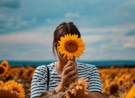 Фото бесплатно девушка, поле, подсолнух