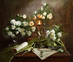 Фото бесплатно роза, натюрморт, свечи
