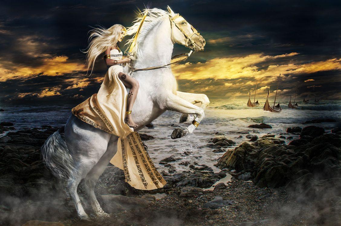 Фото бесплатно девушка воин, девушка с мечом, конь, белая лошадь, девушка на лошади, закат, море, небо, фантазия, art, рендеринг