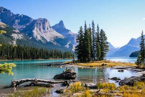 Фото бесплатно горы, озеро Малинье, национальный парк Джаспер