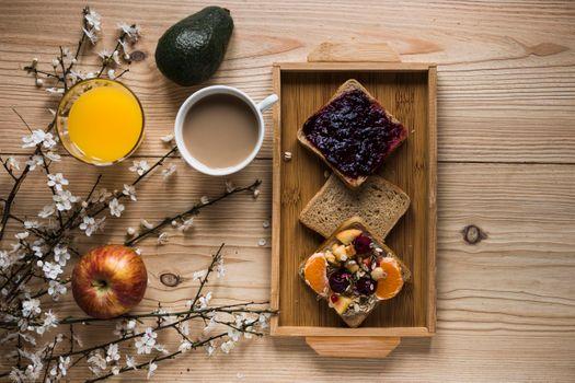 Фото бесплатно сок, кофе, тосты