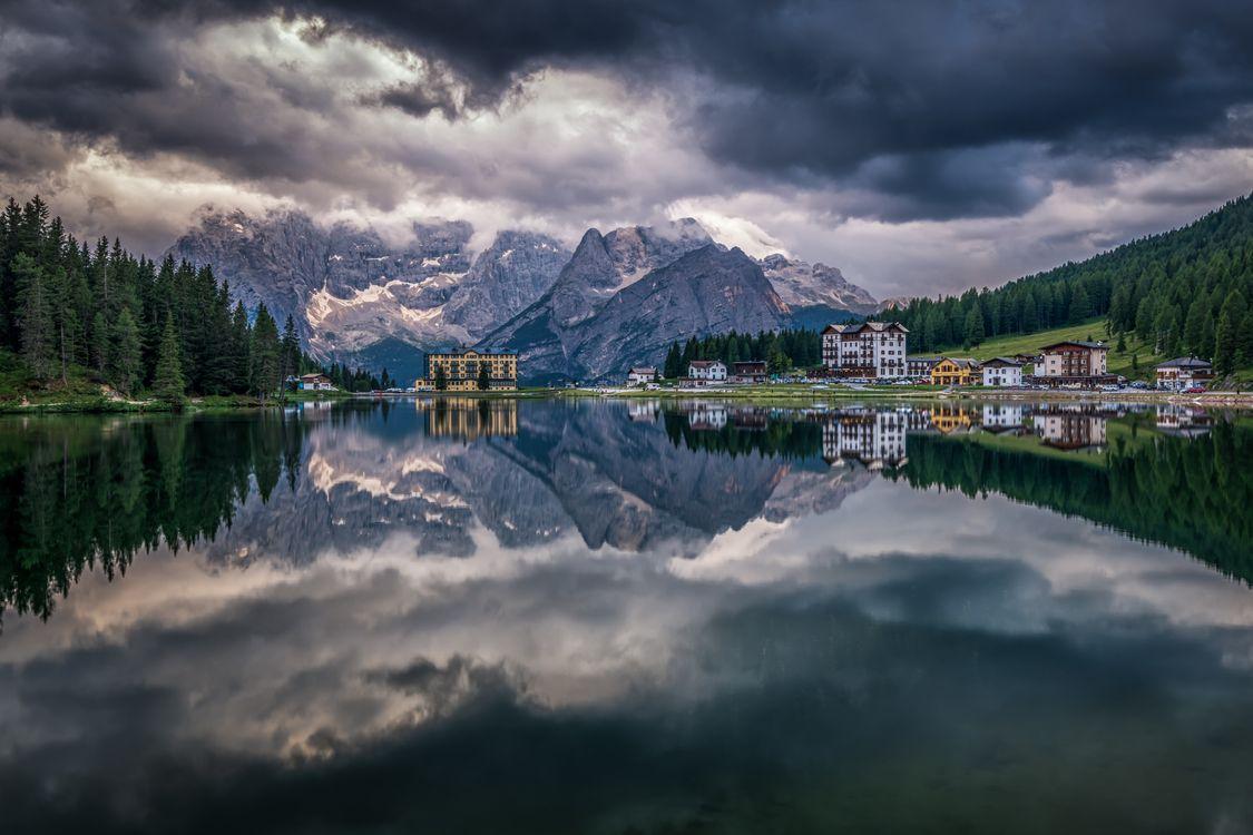 Фото бесплатно Озеро Мизурина, Доломитовые Альпы, Италия, пейзажи