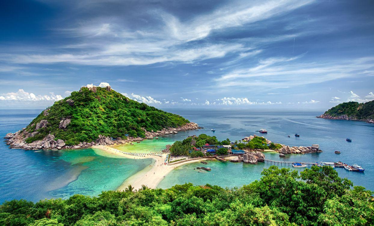Обои Пханган, Таиланд, Нанг Юань и остров Тао, NangYuan and Tao island, Бангкок, море, небо, пейзаж на телефон | картинки пейзажи