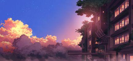 Фото бесплатно аниме пейзаж, здания, закат, Облака, живописные