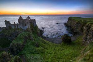 Бесплатные фото Замок Данлудж,Бушмиллс,Графство Антрим,Северная Ирландия,Великобритания,закат,море