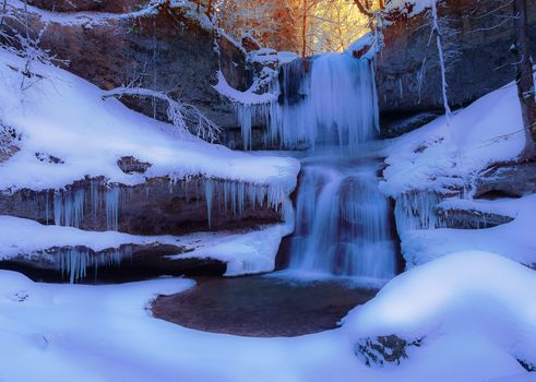 Заставки сосульки, замерзший зимний водопад, мороз