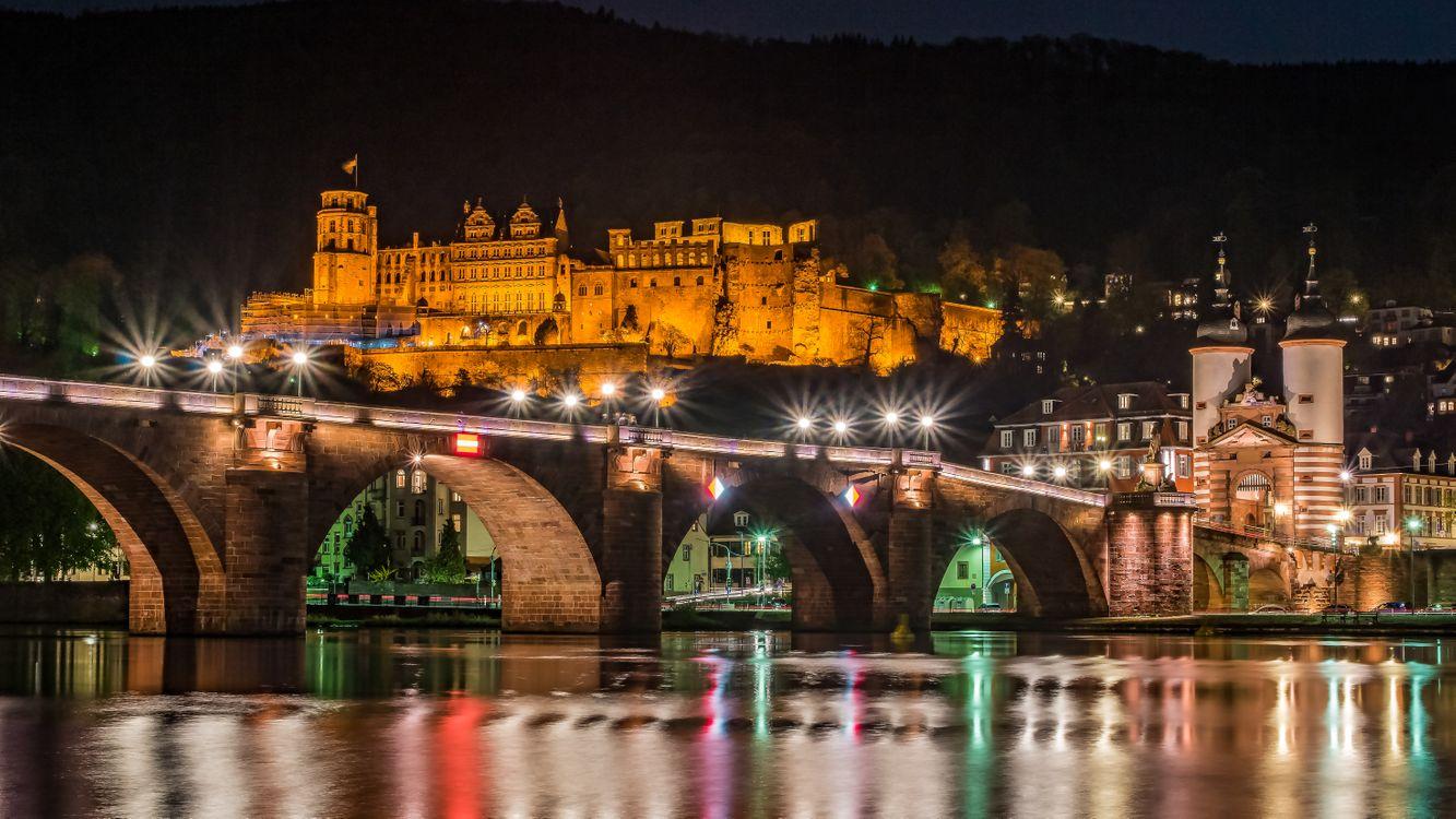 Фото бесплатно Гейдельберг, ночной мост, Германия, Heidelberg, город, ночь, иллюминация, ночные города, ночной город, Гейдельбергский замок, город