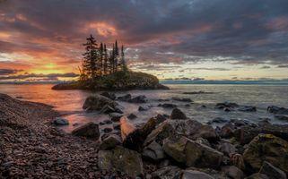 Бесплатные фото Миннесота,озеро,закат,небо,облака,камни,берег
