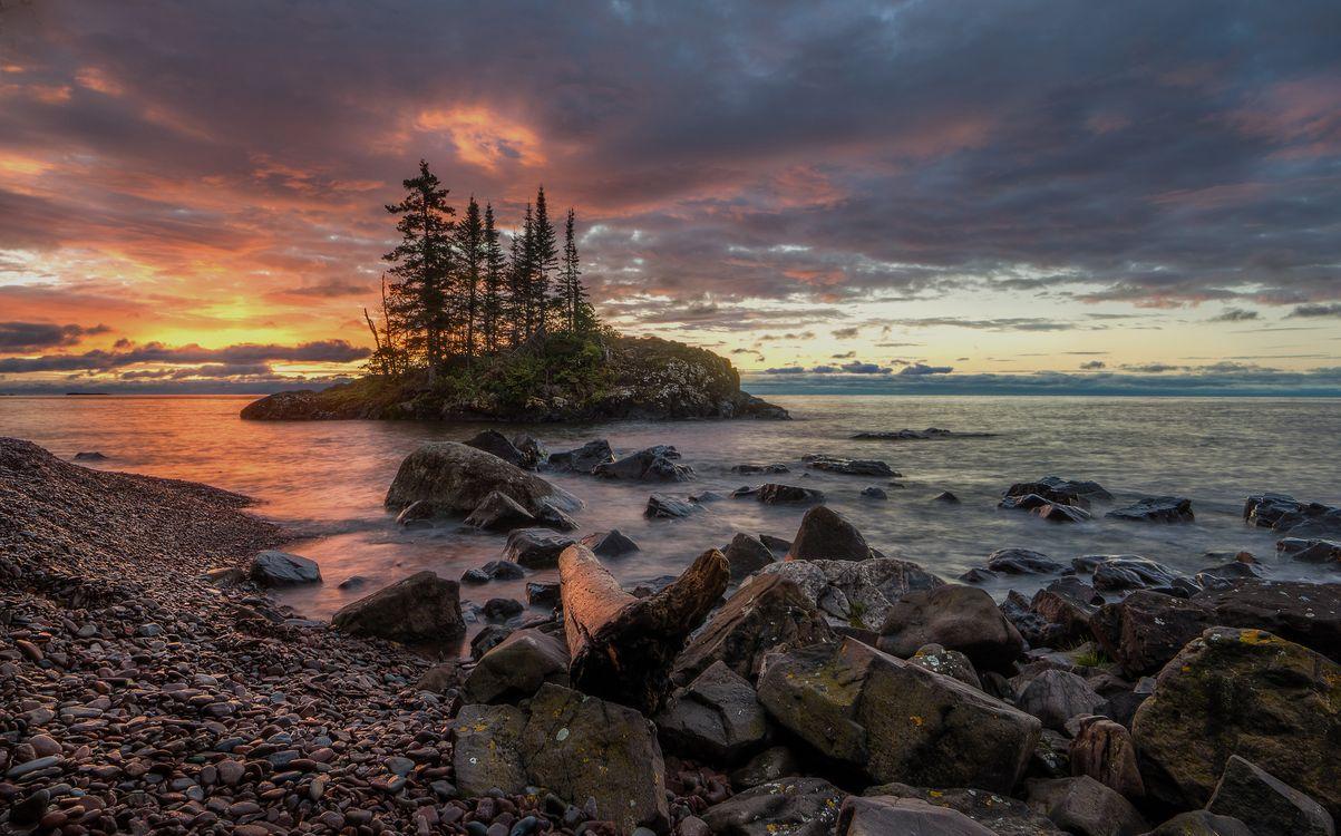 Фото бесплатно Миннесота, озеро, закат, небо, облака, камни, берег, остров, пейзаж, пейзажи