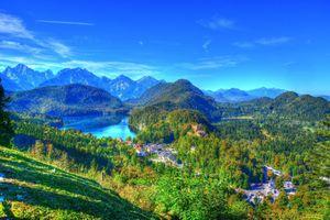 Бесплатные фото Германия,замок Хоэншвангау,Южная Бавария,Горы,озеро,пейзаж