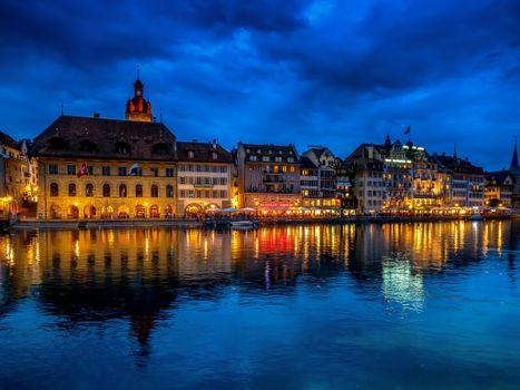 Фото бесплатно Люцерн, Швейцария, ночь