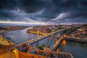 Бесплатные фото Porto,Portugal,Порто,Португалия,закат,город,сумерки