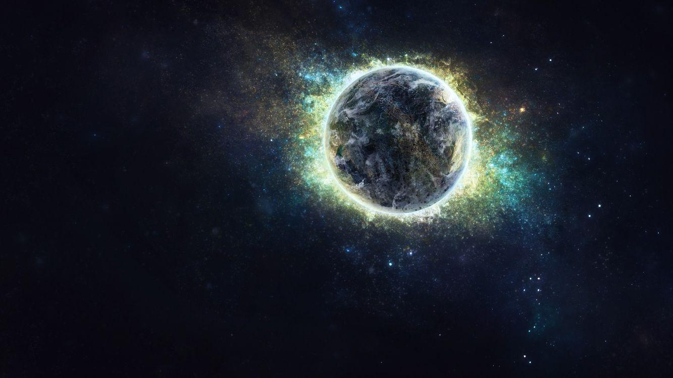 Фото бесплатно планета, сияющая, галактика - на рабочий стол
