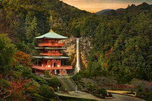 Бесплатные фото водопад,храм,Япония,Вакаяма,осень,закат солнца,Кумано