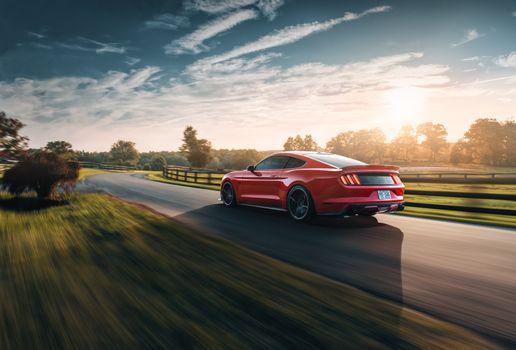 Фото бесплатно Ford Mustang, красный, мускулкар