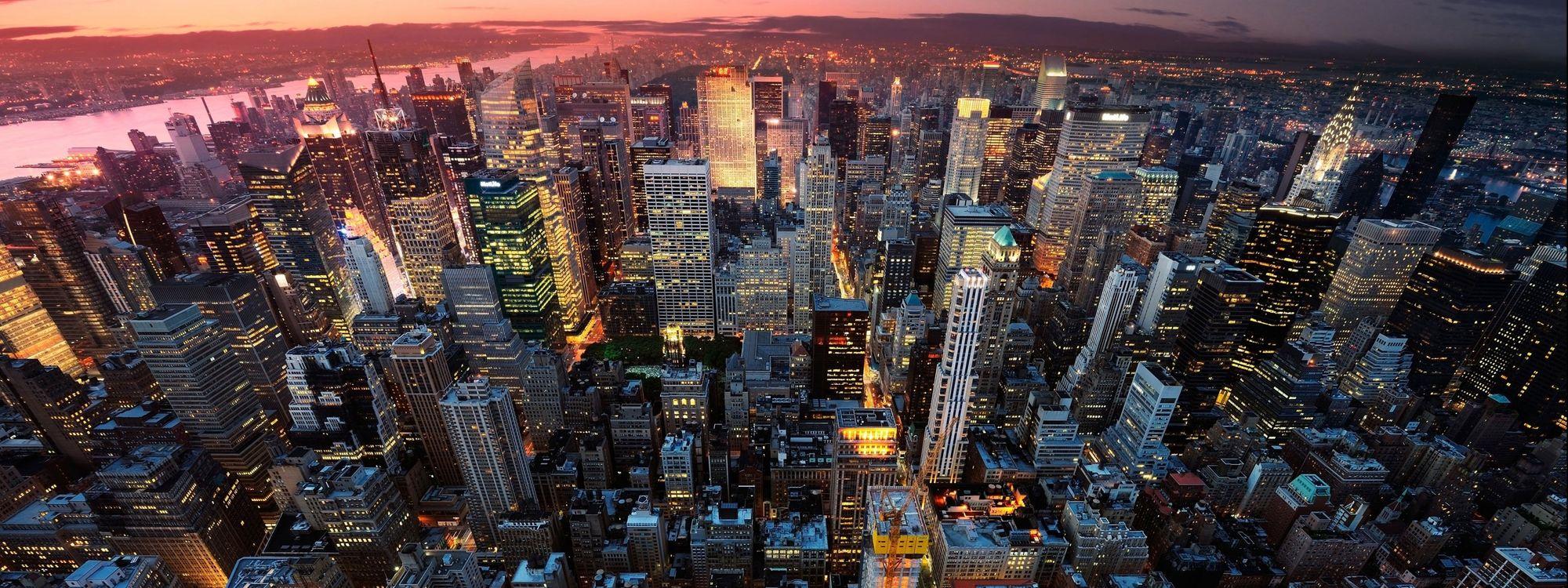 Обои Нью-Йорк, США, горизонт, высота, небоскребы, жизнь, город, закат, вечер на телефон | картинки город