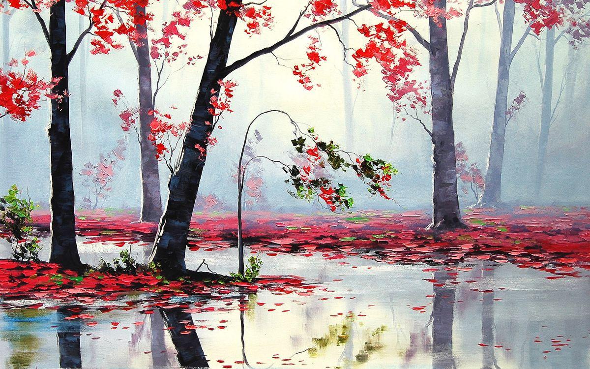 Фото бесплатно листья, лес, живопись - на рабочий стол