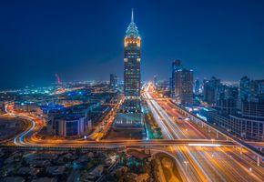 Ночные дороги Дубая · бесплатное фото