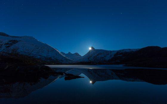 Mountain night and lake
