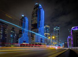 Заставки Дубай ОАЭ ночь, архитектура, дома