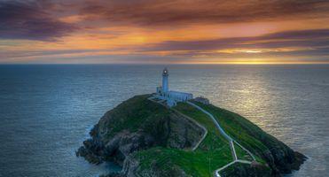 Бесплатные фото South Stack Lighthouse,Англси,Северный Уэльс,закат,море,маяк,пейзаж