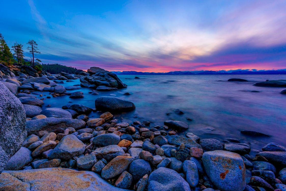 Фото бесплатно Lake Tahoe, Калифорния, озеро Тахо, зкат, сумерки, камни, пейзаж, пейзажи