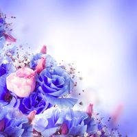 Картина с синими розами