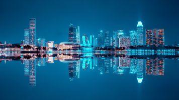 Фото бесплатно Сингапур, небоскребы, ночь