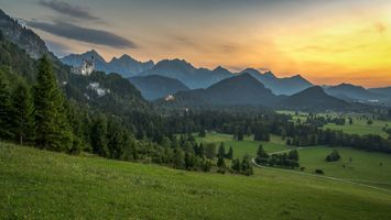 Бесплатные фото замок,Нойшванштайн,Хоэншвангау,Германия,Бавария,Альпы,горы