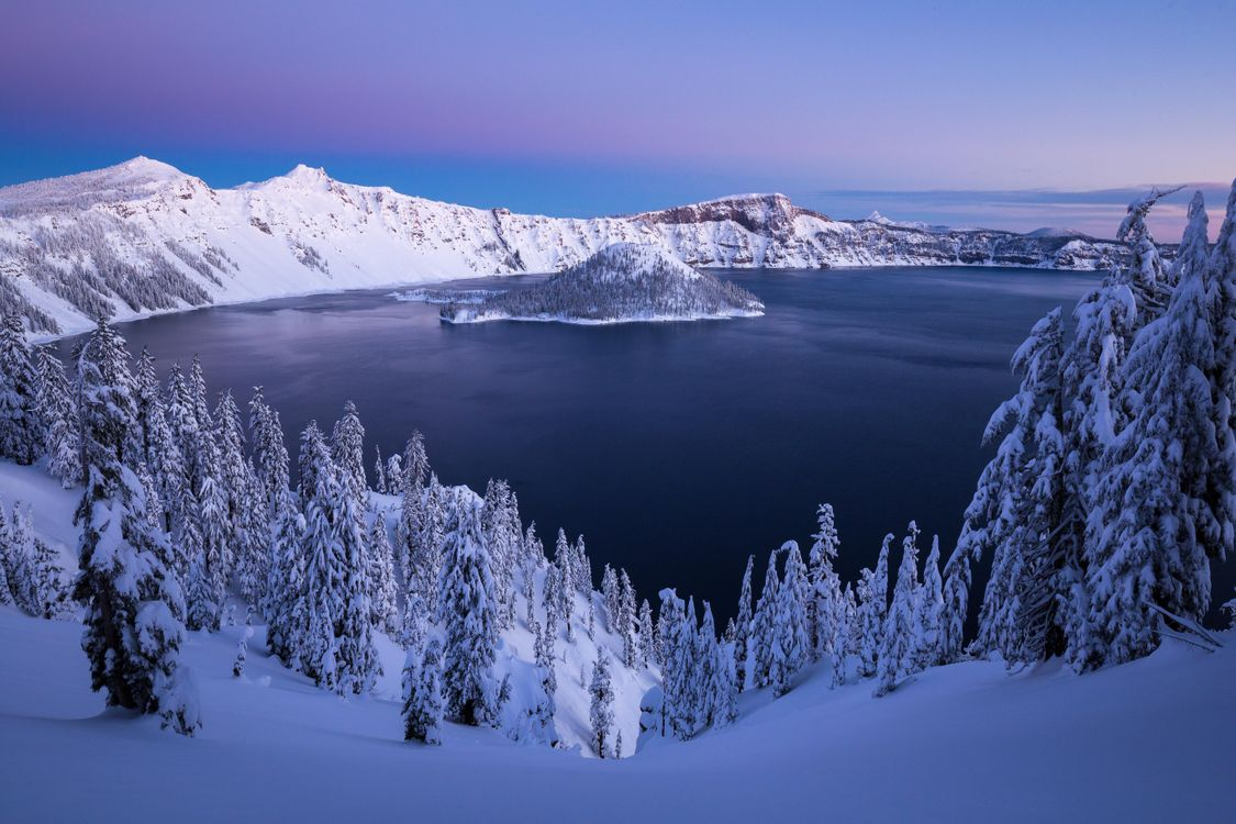 Обои Crater Lake, зима, США картинки на телефон