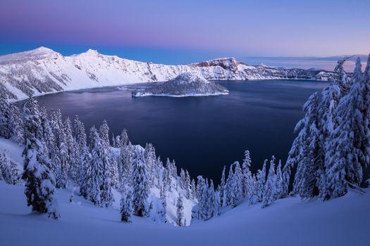 Photo free Crater Lake, winter, USA