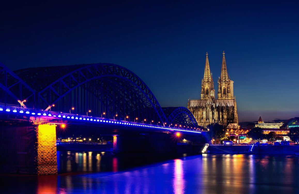 Фото бесплатно Кёльнский собор, Кёльн, Германия, ночь, иллюминация, ночные города, город