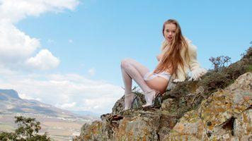 Фото бесплатно белые чулки, Милена ангел, грудки