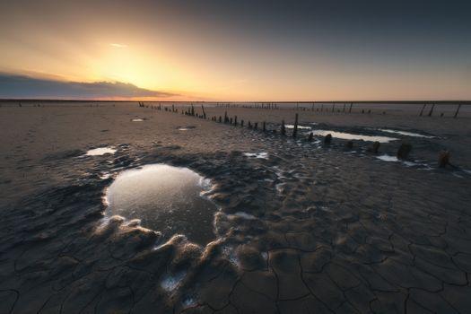 Salt pools in the bottom of the lake Elton · free photo