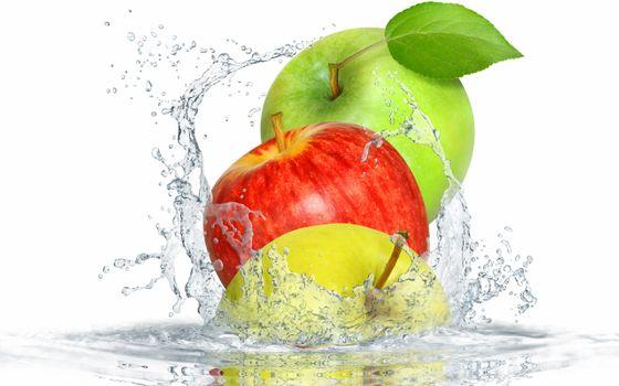 Фото бесплатно яблоки, зеленый, красный