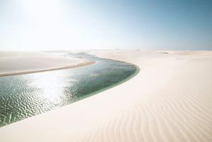Фото бесплатно пустыня, река, солнце, дюны