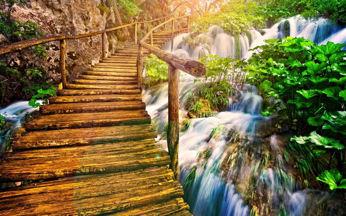 Фото бесплатно bridge, wood, waterfall - на рабочий стол