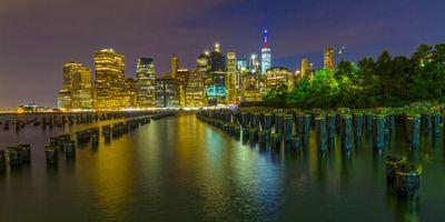 Фото бесплатно Ночной город небоскребы, ночь, город