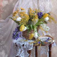 Фото бесплатно корзина, натюрморт, тюльпаны