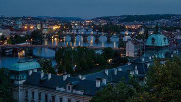 Фото бесплатно Прага, берег и здания, Чехия, Чешская Республика, Prague, Czech Republic, Пражский град, город, дома, мосты, иллюминация, ночь, ночные города
