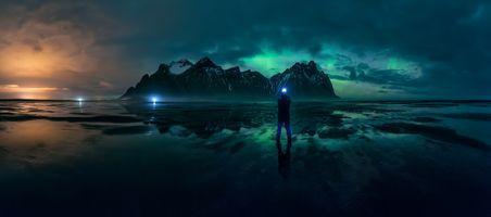 Фото бесплатно Исландия, Северное сияние, море